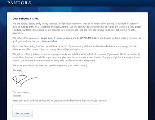 Pandora Radio blocked